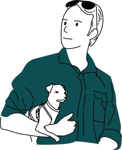 Illustration, line drawing of Jason holding Fig the Chihuahua